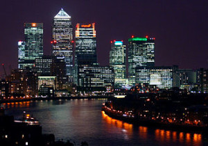 UK recovering from resession - Business district Canary wharf